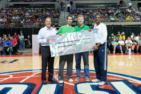 At the Detroit Pistons-Sprite Ultimate Challenge Ben Greenberg, 25, of Pontiac (second from left), with Palace Sports & Entertainment CEO Dennis Mannion,...