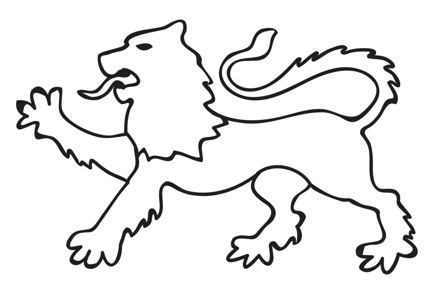 Black and white illustration of lion walking forward with paw raised symbolizing resolve in heraldic animal attitude