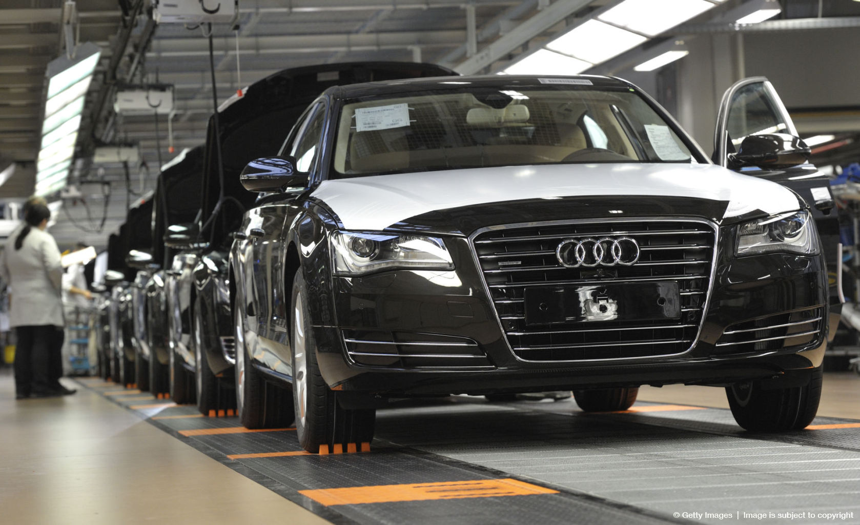 Audi A8 cars are pictured at the assembl