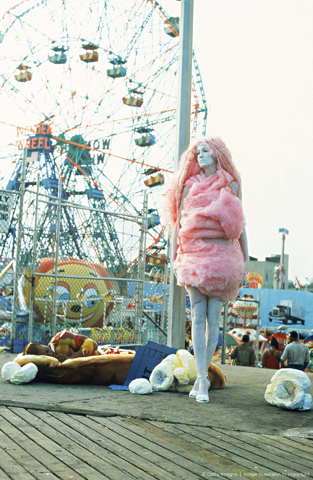 People in costumes of cotton candy and hotdog,  Coney Island,  New York